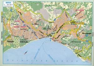 Карта Ялты - масштаб 1:250